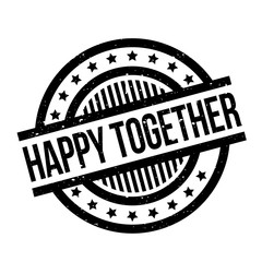 Happy Together rubber stamp. Grunge design with dust scratches. Effects can be easily removed for a clean, crisp look. Color is easily changed.