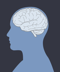Blue person brain and face silhouette image vector illustration.