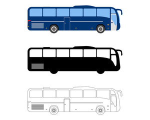 Set of Flat Bus icon. Cartoon, Outline, Silhouette Vector illustration