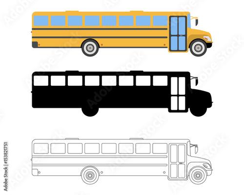 """Set Of Flat School Bus Icon. Cartoon, Outline, Silhouette"
