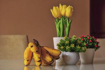 Banana and tulips