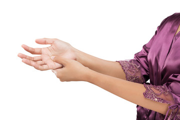 Woman holding her hand, Pain concept