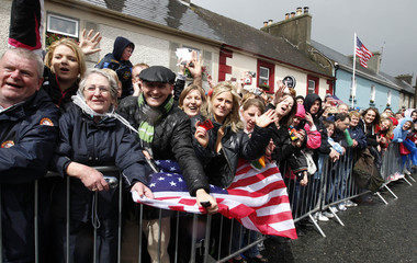 Crowds line the street waiting for U.S. President Barack Obama to visit his ancestral home in Moneygall