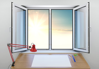 An open window overlooking a beautiful sunrise