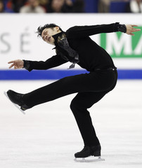 Takahashi of Japan performs during the men's free skating event at the ISU World Figure Skating Championships in Nice