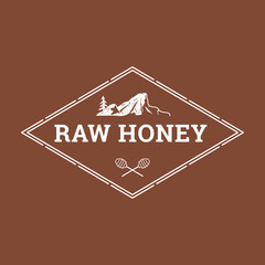 Label for natural honey in retro style. Illustration of crossed spoons for honey and pine growing on rocks. Concept for organic farm products. EPS10.
