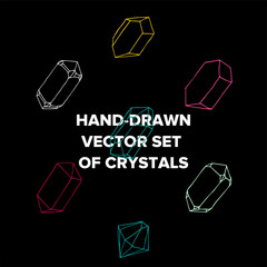 Vector symbol of ink crystal with geometrical linear flat diamond.