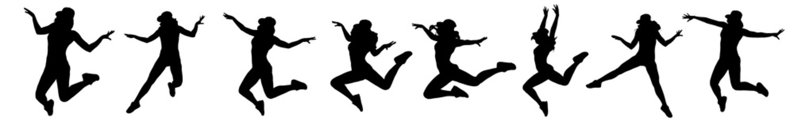 set of silhouette of woman dancing and jumping on white background
