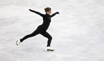 Wagner skates her routine during a practice session at the U.S. Figure Skating Championships in Greensboro