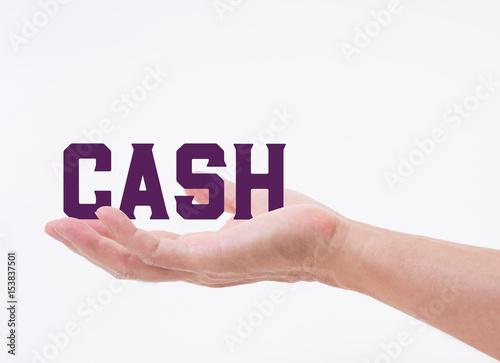 man hand holding cash word on white background fotolia com の