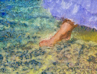 foot of the bride touches water in the sea..