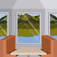 background interior train with a passenger compartment and landscape scenary outside with lake vector illustration