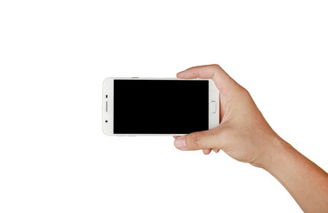 One hand holding mobile smartphone with black screen. Mobile photography concept. Isolated on white.