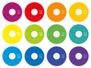 CD with colored blank labels - set of twelve CDs or DVDs - external media data collection storage for music, films, photos, documents or any video and audio information - isolated vector on white.