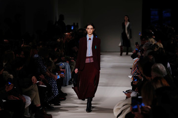 A model presents a creation from the Victoria Beckham Fall/Winter 2017 collection during New York Fashion Week in the Manhattan borough of New York