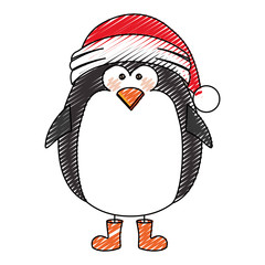 color crayon stripe cartoon of penguin with boots and christmas hat vector illustration