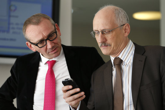 Gerard Lasfargues, Deputy Director General for Scientific Affairs, and Dominique Gombert, director of Risk Assessment at ANSES, attend a news conference in Paris