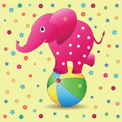 Pink elephant on a ball. Vector image on a yellow background. Picture for the child. Characters of cartoons. Design for illustration of children's books, textiles, background image.