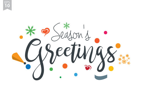 Season's Greetings. Creative calligraphy and lettering. Can be used for Christmas cards, prints, New Year posters, stamps, advertisement, blogs, banners, etc.