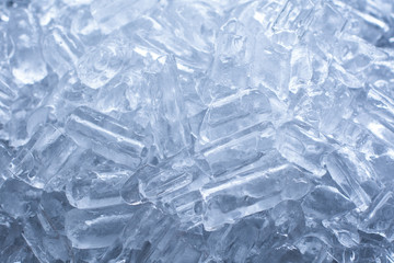 close up ice tube in the bucket