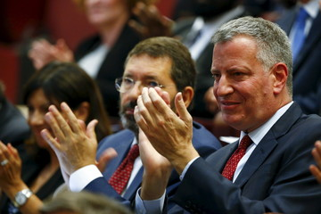"New York City Mayor Bill de Blasio and Rome Mayor Ignazio Marino attend the ""Modern Slavery and Climate Change"" meeting at the Vatican"