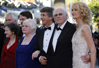 """Director Alexander Payne and cast members arrive for the screening of the film """"Nebraska"""" in competition during the 66th Cannes Film Festival"""