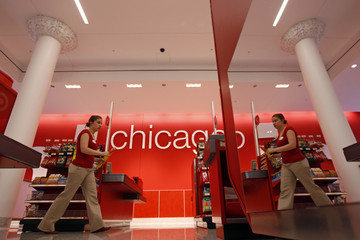 Employee walks in the new CityTarget store in downtown Chicago