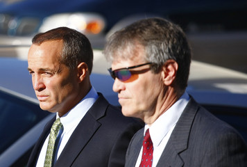 Young and Stuber arrive at the federal court house in Greensboro