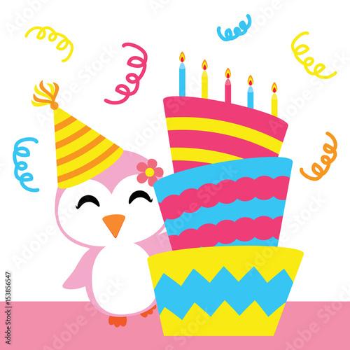 Cute penguin girl with birthday cake vector cartoon Birthday