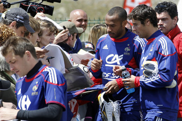France national soccer team players sign autographs after a training session in the French Alps resort of Tignes