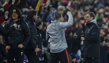 Liverpool manager Juergen Klopp celebrates after Georginio Wijnaldum scores their first goal