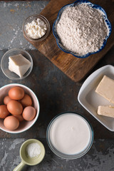 Ingredients for cooking khachapuri with suluguni cheese