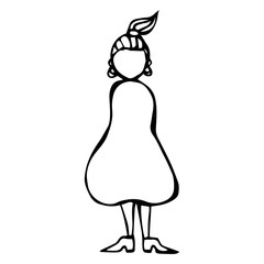 Caricature Pear or Triangle Female Body Shape Sketch. Hand Drawn Vector Illustration Isolated on a White Background.