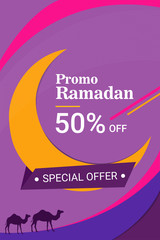 Flyer, Sale, discount, greeting card, post card, gift, label or banner occasion of Ramadan kareem , Idul Fitri, and Eid Mubarak celebration