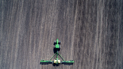Aerial View of Planting Corn and Soybeans Wall mural