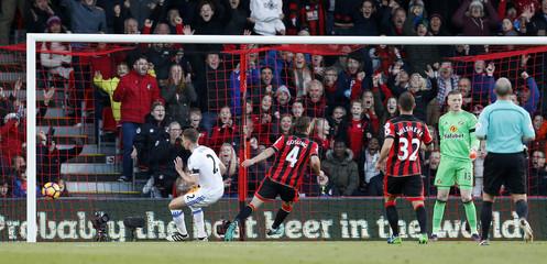 Bournemouth's Dan Gosling celebrates scoring their first goal