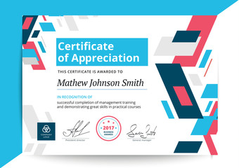 Certificate of appreciation template in modern design. Business diploma layout for training graduation or course completion. Vector background illustration.