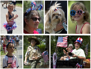 A combination photo shows viewers and participants displaying patriotic symbols during the annual Fourth of July parade in Magnolia Springs