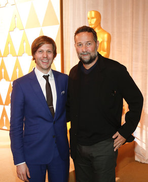 Cinematographer Papamichael poses with director van Groeningen after presenting him with nomination certificate at the 86th Academy Awards Foreign Language Nominee Reception at Ray's and Stark Bar on the LACMA Campus in Los Angeles