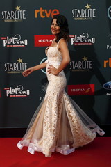 Flecha poses during a photocall after her arrival at the second Premios Platino Ibero-American Film Awards in Marbella