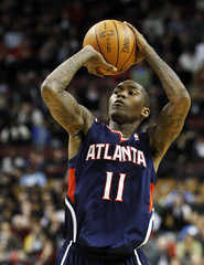 Atlanta Hawks' Crawford puts up a three-point shot against the Toronto Raptors during their NBA basketball game in Toronto
