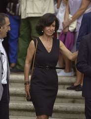 Santander bank's new President Ana Botin leaves the funeral of her father Emilio Botin at Santander cathedral