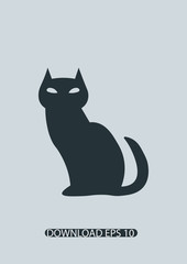 Black cat icon, Vector