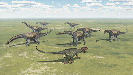 Dinosaur Giganotosaurus and group of Argentinosaurus dinosaurs