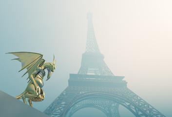 Gargoyle und Eiffelturm im Nebel