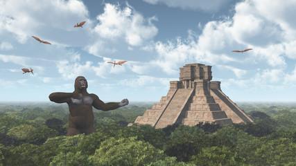 Riesiger Gorilla, Pterodaktylus und Maya Tempel