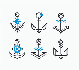 Abstract geometry anchor symbols' set. Nautical icons' collection.