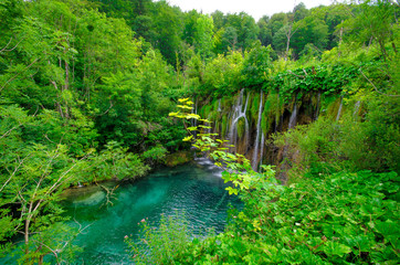 Plitvice Lakes, Croatia. Natural park with waterfalls and turquoise water