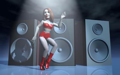 Tänzerin vor Lautsprecherboxen im Scheinwerferlicht