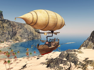 Fantasie Luftschiff über einer Küstenlandschaft